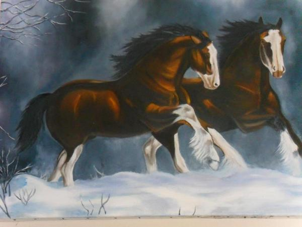 Atlar 50x70  Tual üzeri yağlıboya